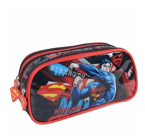 Estojo Escolar Triplo Superman 03 Divisórias Original Luxcel