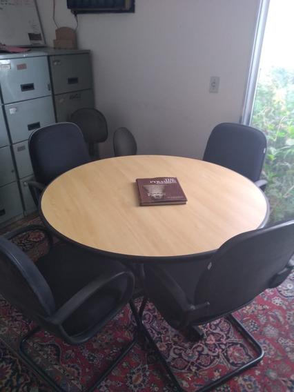 Mesa De Escritório Redonda Reunião Com 4 Poltronas