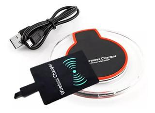 Carregador Sem Fio Indução Qi + Receptor Universal Micro Usb