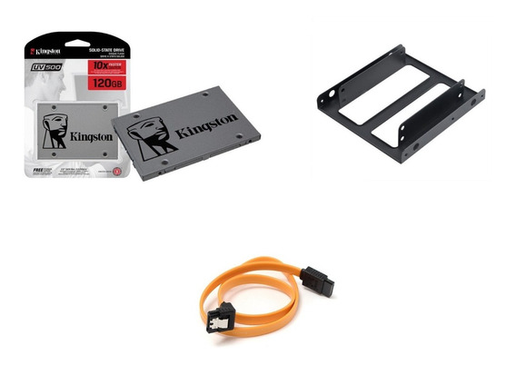 Kit Ssd Kingston Uv500 120gb Sata + Suporte Desktop + Cabo