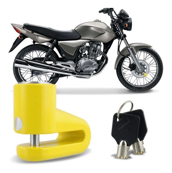 Trava Disco Moto Antifurto Cadeado De Freio A Disco Amarelo