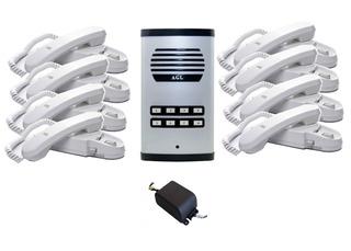 Kit Porteiro Predial Coletivo 8 Pontos Agl + 8 Interfones