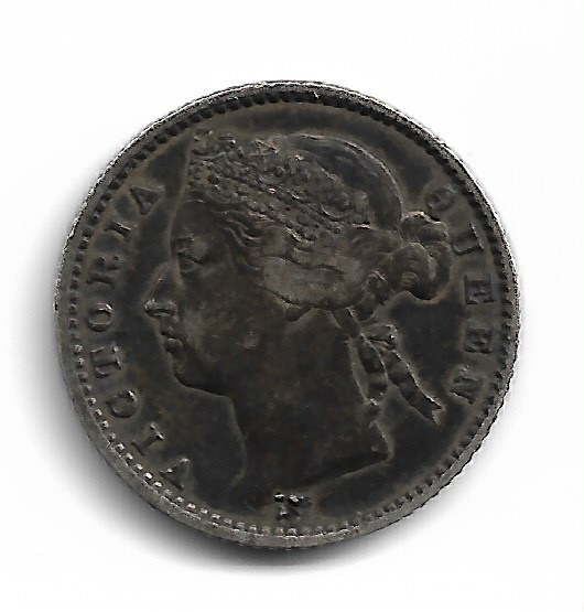 Malasia Straits Settlements 10 Cents 1871 Km#11 Punch Exc