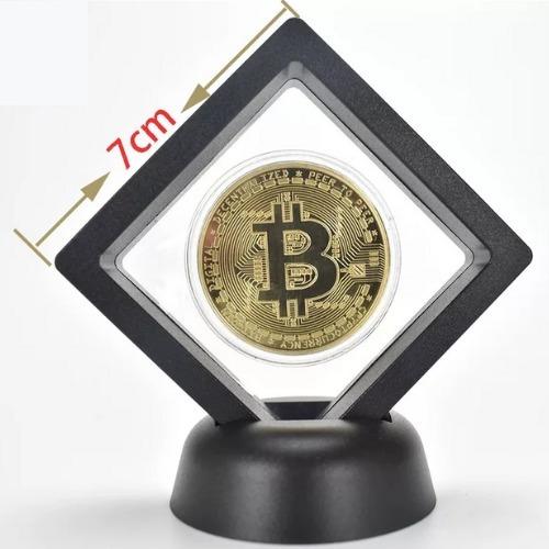 Moeda Bitcoin Ouro + Porta-moedas Decorativo+ Caixa Acrílico
