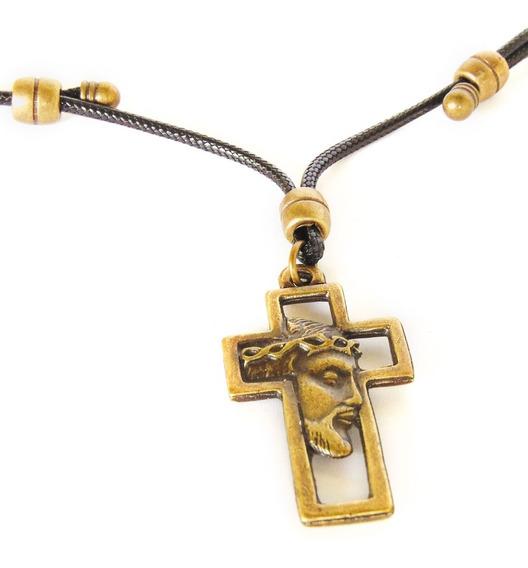 Colar Com Pingente Crucifixo E Rosto De Jesus - Ajustável