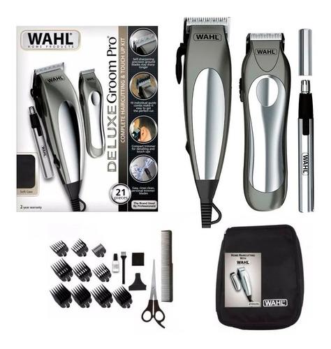 Maquina Cortar Pelo Kit Wahl + Patillera + Trimmer Groom Pro