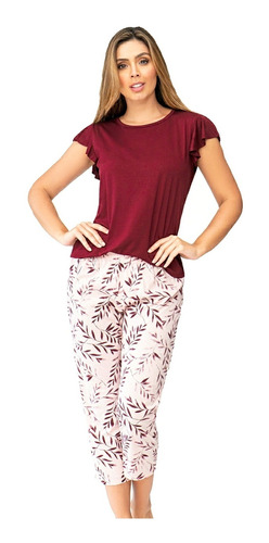 Pijama Mujer Flores Juvenil Pantalón Blusa Bolero Multiuso