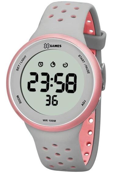 Relógio Xgames Feminino Digital Xfppd039 Cinza Rosa Original