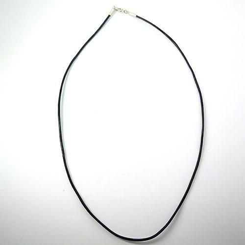 Colar Couro Natural Liso Em Prata - Id 4581