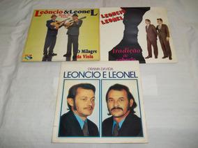 Lp Vinil - Lote 3 Discos Leôncio E Leonel Dupla Sertaneja