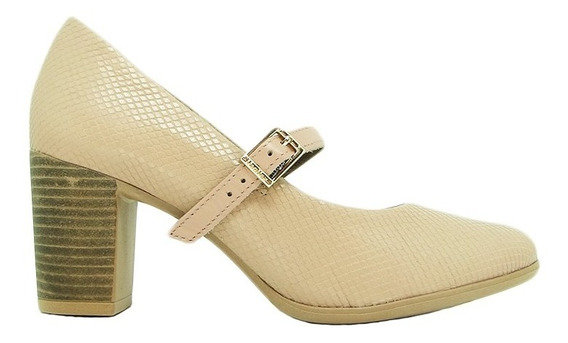 Sapato Usaflex Ad2902 Couro Escama Presilha Salto Conforto