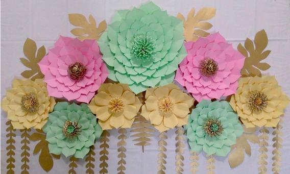 Kit 20 Flores De Papel Gigantes Deco Cumpleaños Backdrop