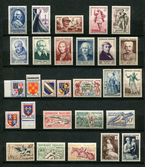 Sellos Francia Año 1953 Completo Yvert 940-967 Mnh