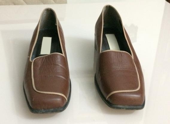 Sapato Feminino Couro Bico Quadrado Semi Novo Desapego!!!
