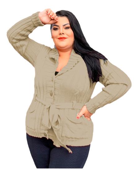 Casaco Blusa De Frio Botão Bolso Cinto Tricot Plus Size