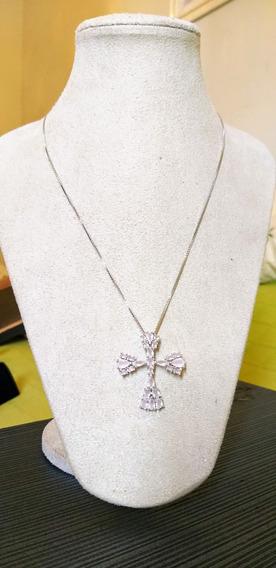 Colar Prata 925 Cruz / Crucifixo Cravejado Em Zircônias