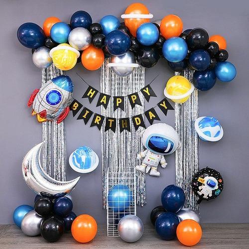 Kit Globos Feliz Cumpleaños Astronauta Deco Fiesta Metalicos