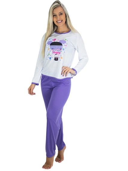 Kit 3 Pijamas Longo Adulto Feminino Blusa Manga Comprida