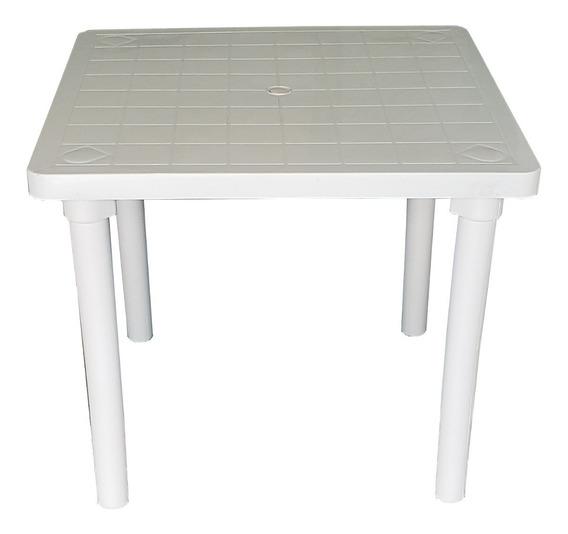 1 Mesa Plástica Desmontável Quadrada 84x84 Branca