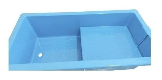 Banheira De Fibra Petshop Grande Com Degrau Azul Ou Branca