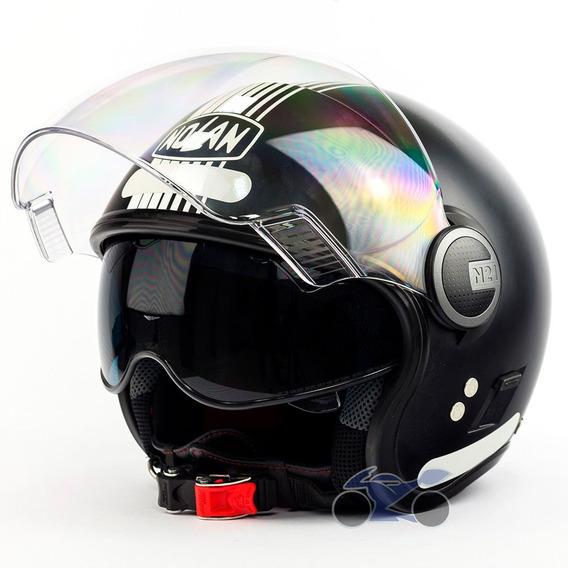 Capacete Nolan N21 Joie De Vivre Preto Fosco Viseira Solar + Touca Balaclava (capacete Aberto)
