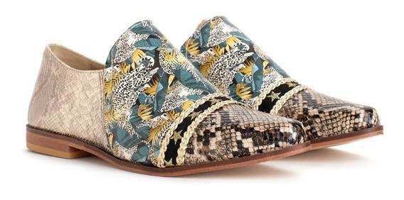 Zapato Mocasín Mujer Rocas Tola Reptil C/ Cajoncito Madera