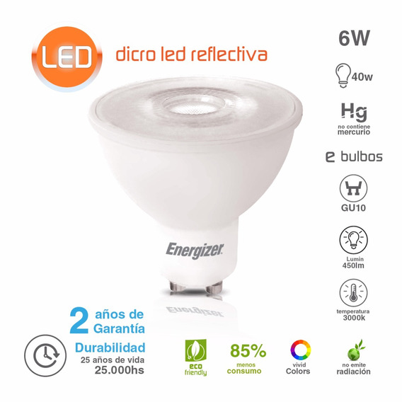 Lampara Dicroica Energizer Led 6w Gu10 Luz Calida Oferta
