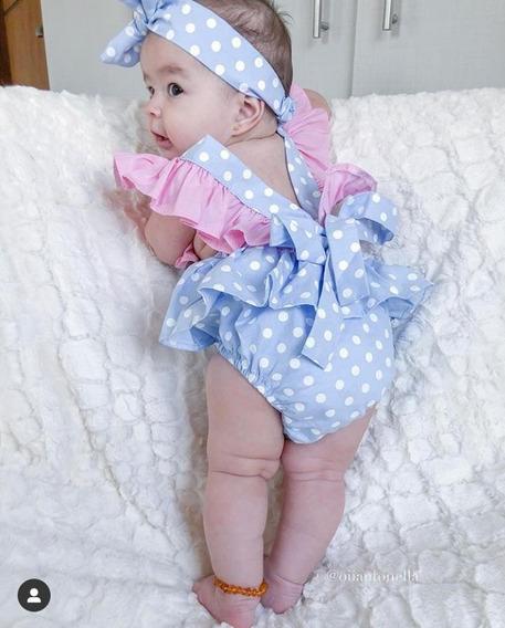 Jardineira Com Turbante Infantil Body Feminina Roupa De Bebê