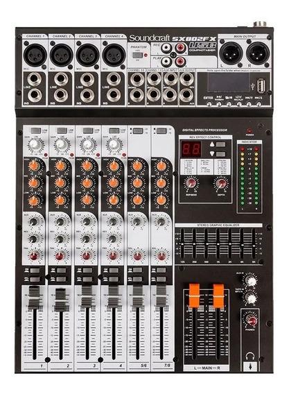 Mesa De Som Soundcraft Sx802 Fx Usb Efeitos 8 Canais Sx802fx