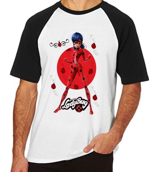 Camiseta Luxo Ladybug Joaninhas Aventuras Menina Super Heroi
