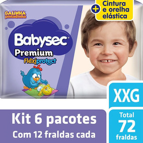 Kit Fralda Babysec Galinha Pintadinha Premium Xxg - 72 Unids