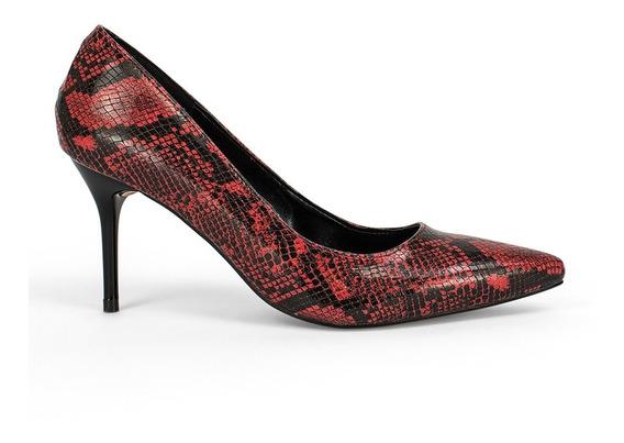 Zapatillas Zapatos Dama Tacon Aguja Animal Print Rojo 9112