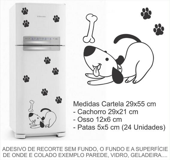 Adesivo De Geladeira Cachorro Pet Patinhas Ossinho 1102