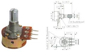 100 Peça - Potenciômetro Linear 200k L15 C/ Chave Mini Wh160
