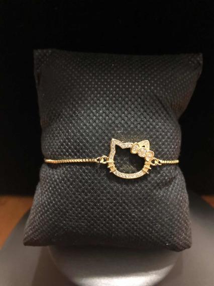 Pulsera De Chapa De Oro Hello Kitty Con Cristales