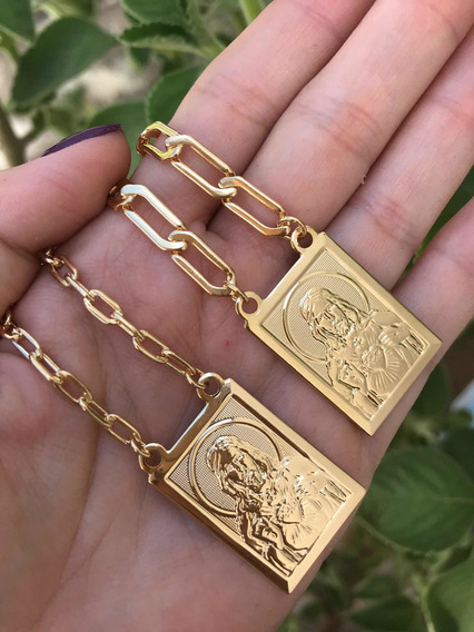Escapulário Masculino Sagrado Coração De Jesus Folheado Ouro