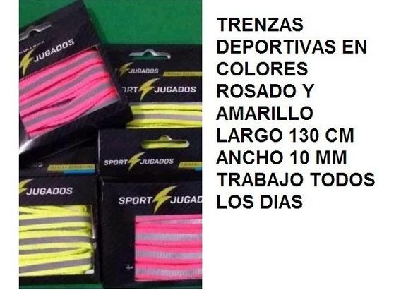 1 Par Trenzas Deportivas Gomas Colores Rosado Amarillo