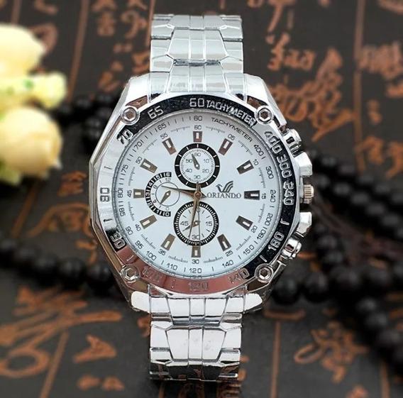 Relógio Masculino Luxuoso Aço Inox Promoção