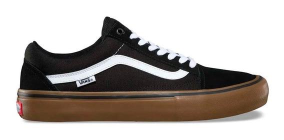 Tenis Vans Old Skool Pro Black White Medium Gum Originales