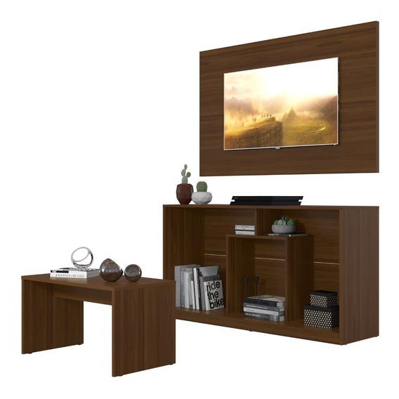 Mueble Panel Pantalla + Rack +mesa Combo Castaño 2585.0001