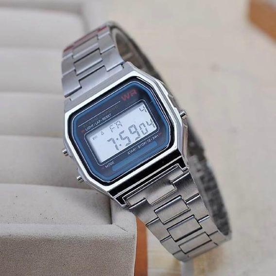 Relógio Prata Digital Feminino Aço Inox Envio Imediato