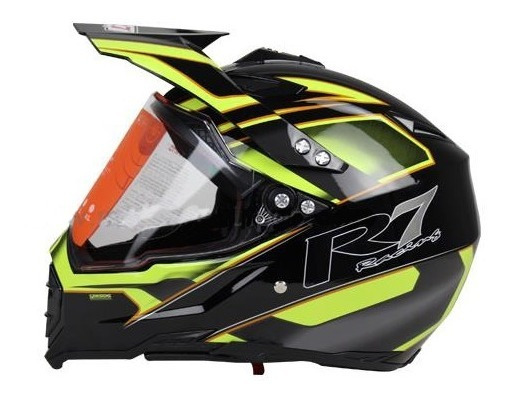 Casco Para Moto R7 R7-128 Cross City Amarillo Negro