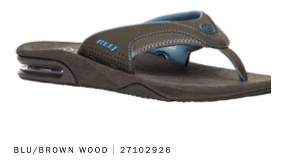 Ojotas Reef Fanning Prints Blue/brown C/ Destapador Original