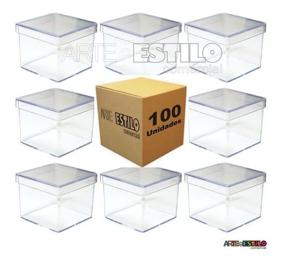100 Caixinha De Acrilico 4x4x3,5 Caixinha Acrilica Tubete
