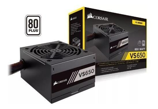 Fonte Gamer 650w Real Vs650 Corsair 80plus Pfc Ativo Atx