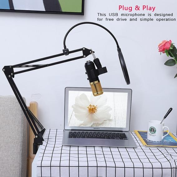 Microfone Condensador Usb Reverb Definir Estojo Com Choque D