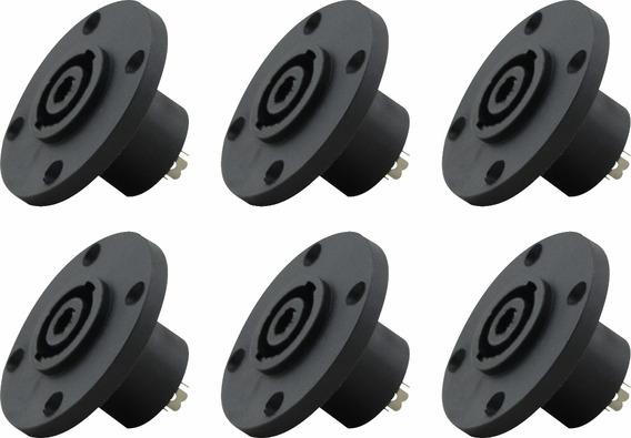 6 Plug Conector Speakon Painel Com Trava Prof Tipo Neutrik