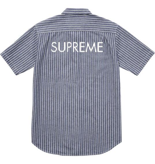 Supreme Camisa Polo - Striped Denim - Talla L