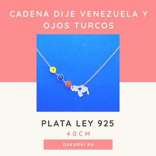 Cadena Con Dije De Venezuela Y Ojo Turco