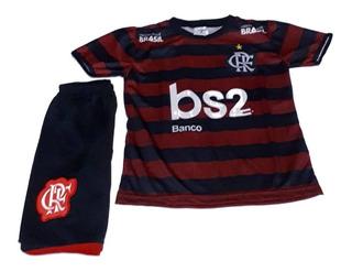 Conjunto Uniforme Infantil Flamengo Rubro Nego Mengão